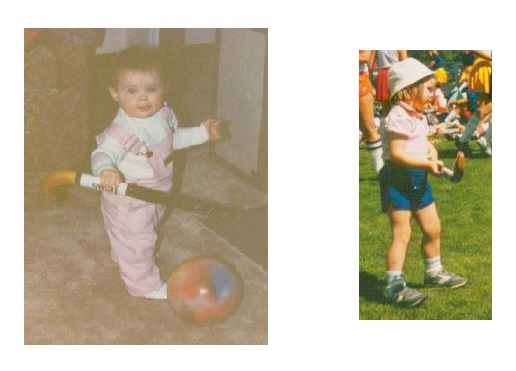 Stephanie Jameson, age 1 and age 3, already showing interest in Field Hockey.