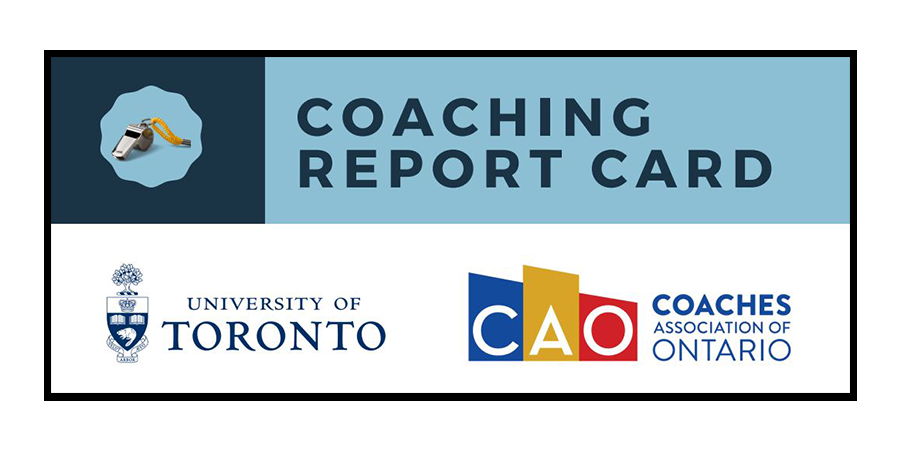 Coaching Report card with a whistle, UofT and CAO logos