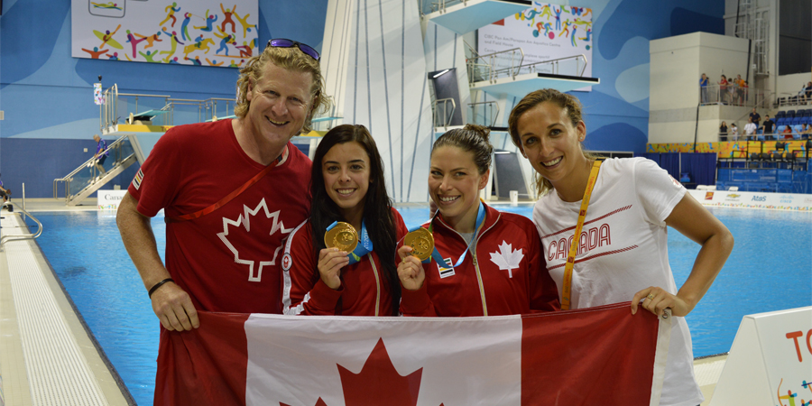 Curt Harnett at the 2015 Pan Am Games with Gold Medal winning divers and Assistant Chef Elise Marcotte