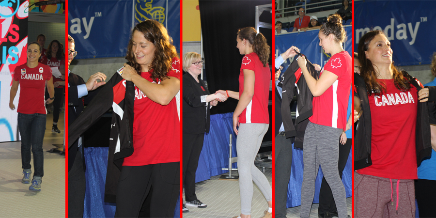 Audrey Lacroix, Penny Oleksiak, Sandrine Mainville, Chantal Van Landeghem and Michelle Williams receiving their Team Canada jackets