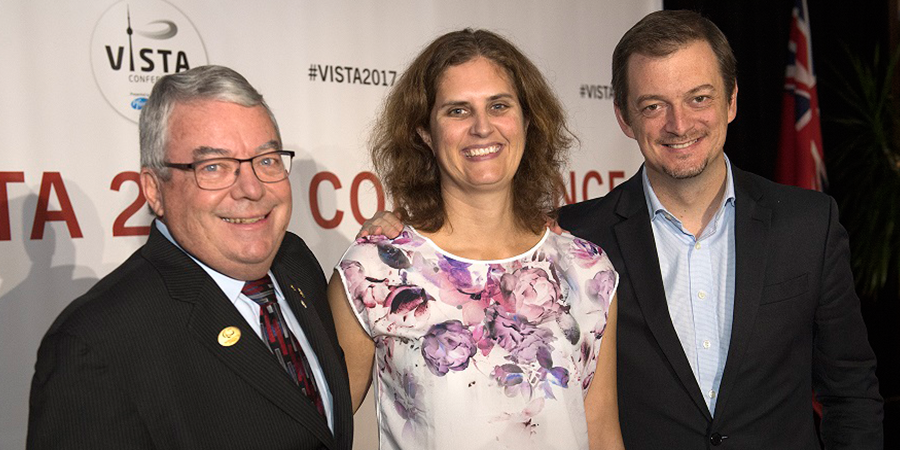 Dr. Robert Steadward (left), Victoria Goosey-Tolfrey and Andrew Parsons at VISTA Conference in Toronto