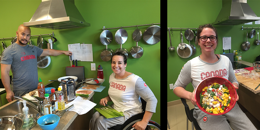 Wheelchair Basketball Athletes Cooking in our Performance Kitchen