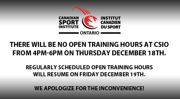 No Open Training Hours from 4-6PM on December 18