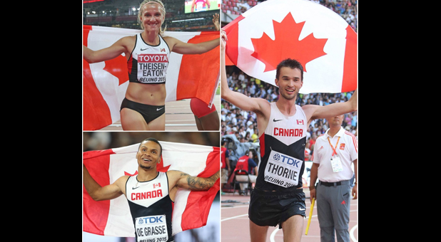 Brianne Theisen-Eaton wins silver; Andre De Grasse and Ben Thorne take bronze on day 2 of IAAF Worlds