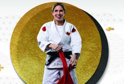 Photo of Priscilla Gagne, Para Judo in front of a gold coloured circle and white background.