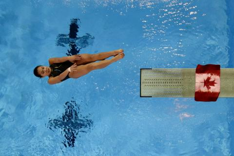 Diver in pike position off diving board