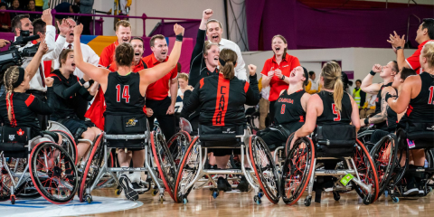 Women's wheelchair basketball team cheering in huddle