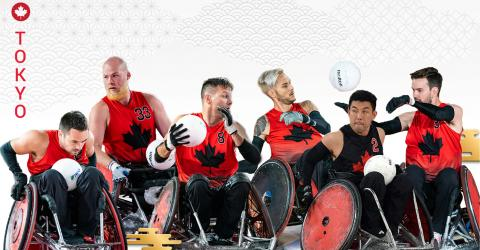 Members of the Canadian Paralympic Wheelchair Rugby Team