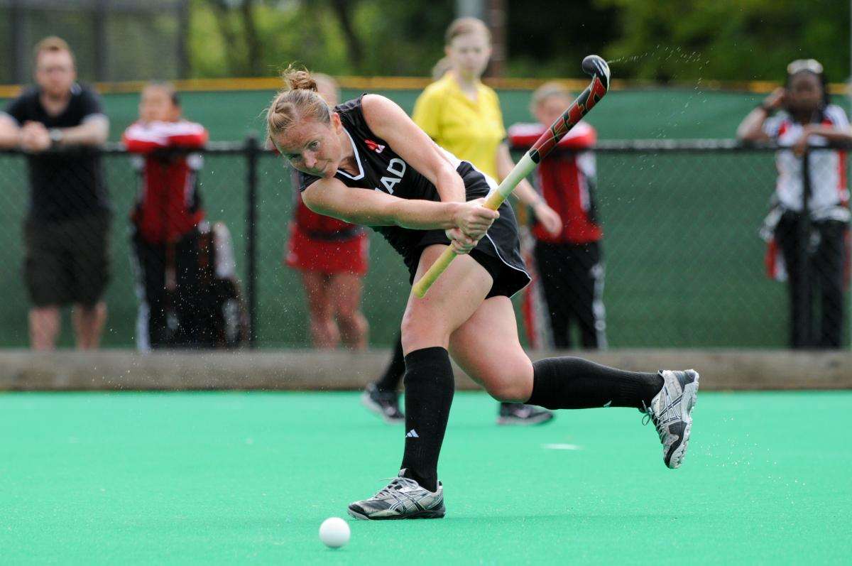 Stephanie Jameson representing Canada on the international stage in Field Hockey.